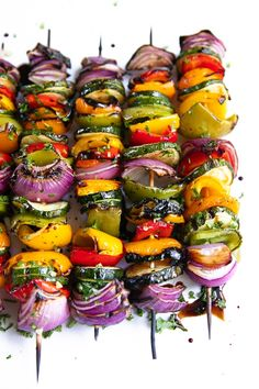 Easy Grilled Veggie Skewers - The Forked SpoonYou can find Veggie food and more on our website.Easy Grilled Veggie Skewers - The Forked Spoon Grilling Recipes, Veggie Recipes, Slow Cooker Recipes, Vegetarian Recipes, Cooking Recipes, Healthy Recipes, Cooking Time, Veggie Food, Grilled Vegan Recipes