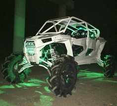 WHITE W/ GREEN LIGHTS W/LIFT RZR