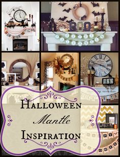 Halloween Mantles for inspiration! Fall Halloween, Halloween Ideas, Halloween Decorations, Table Decorations, Live Love, Hallows Eve, Holidays And Events, Gallery Wall, Presents