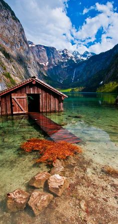 That is Obersee in the Berchtesgaden National Park. It is the only German . - That is Obersee in the Berchtesgaden National Park. It is the only German national park in the Alps - Dream Vacations, Vacation Trips, Vacation Travel, Vacation Rentals, Travel Europe, Berchtesgaden National Park, Places To Travel, Places To See, Travel Destinations