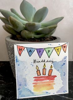 #geburtstag #karten #diy #glückwunschkarte #birthday #cards #aquarell Watercolor Birthday Cards, Kids Watercolor, Watercolor Cards, Happy Birthday Greetings, Birthday Greeting Cards, Birthday Wishes, Happy Birthday Turtle, Handlettering Happy Birthday, Karten Diy