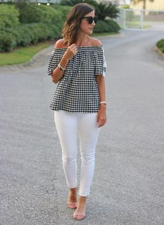 Gingham Off the Shoulder Top @cobaltchronicle