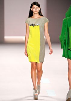 Photo Dress by Albert Kriemler for Akris for Spring 2011: Color blocks with people sitting on a wall in Morocco