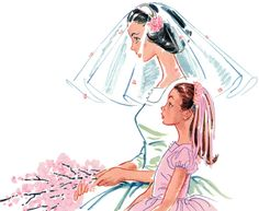 A March 1957 illustration by Hilary Bradshaw for an article on weddings. #vintage #1950s #wedding