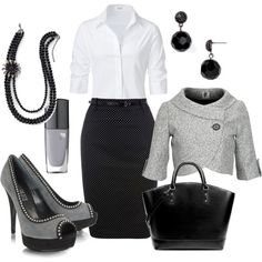 Black and white swiss dot skirt with 3/4 sleeve white cotton collar shirt, light grey 3/4 jacket  cowl neck one button, black purse, black earrings, black beaded three strand with flower necklace and black and grey platform heels