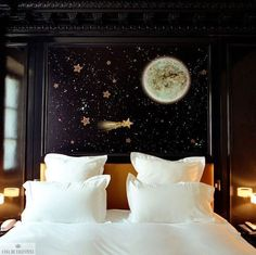 Decoration Interior - Bright Idea - Home, Room, Furniture and Garden Design Ideas Dream Bedroom, Home Bedroom, Bedroom Decor, Bedroom Black, Night Bedroom, Bedroom Ideas, Star Bedroom, Bedroom Wall, Galaxy Bedroom