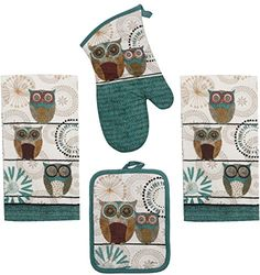 Kay Dee Spice Road Retro Owl Set  2 Towels Oven Mitt Potholder -- Click on the image for additional details.Note:It is affiliate link to Amazon.