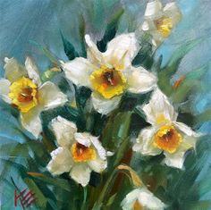 """Daily Paintworks - """"Daffodils in Spring"""" - Original Fine Art for Sale - © Krista Eaton"""