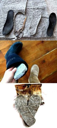 Cut out wool insoles for extra warmth. | 24 Creative Life Hacks Everyone Should Know Before Winter Comes