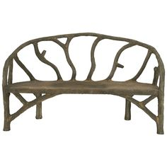 A steel framework is covered with concrete and sculpted to look like tree branches on this unique bench. The rustic style is organic yet chic and moves with ease both indoors and out. Details: - Finis