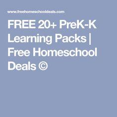 FREE 20+ PreK-K Learning Packs | Free Homeschool Deals ©