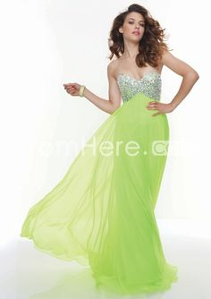 2014 Sweetheart Strapless Floor Length Chiffon Prom Dress