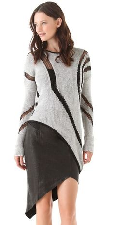 Helmut Lang Textured Intarsia Sweater