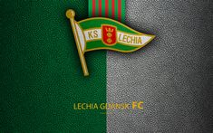 Download wallpapers Lechia Gdansk FC, 4k, football, emblem, logo, Polish football club, leather texture, Ekstraklasa, Gdansk, Poland, Polish Football Championships