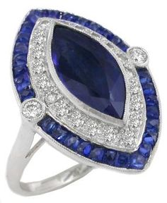 Art Deco Period Sapphire and Diamond Ring