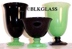 """New Martinsville Glass Company ~ Fancy Square Pattern  ~  Black glass and Opaque green jade glass combo.  Tumbler is 5.25"""" high, 3.3"""" diameter gf008  Sherbet is 3"""" high, 3.5"""" diameter gsh014"""