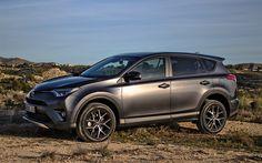 Descargar fondos de pantalla Toyota RAV4, Híbrido, 2017, Crossover, gris RAV4, los coches Japoneses, Toyota
