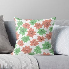 'Echeveria in pink and green ' Throw Pillow by Amanda D-Hay