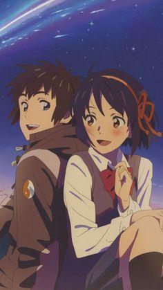 君の名は(kimi no na wa) Anime Shojo, Manga Anime, Kawaii Anime, Mitsuha And Taki, Your Name Wallpaper, Couple Wallpaper, Love Animation Wallpaper, Iphone Wallpaper, Manga Romance