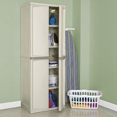 $99 (in grey) Amazon.com: Sterilite 01428501 4-Shelf Cabinet with Putty Handles, Platinum: Home & Kitchen
