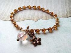 Earthy Crochet Bracelet with Copper Flower Charm Boho by GlowCreek