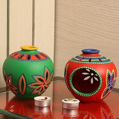 'Light In Matkis' Hand-Painted Tea-Light Holders In Terracotta (Set Of
