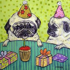 PUG BIRTHDAY PARTY DOG animal art tile coaster  new
