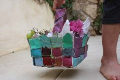 shavuot basket.  Make it with old watercolor paintings!