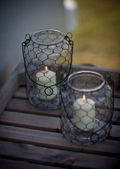 Chicken wire DIY crafts that will make beautiful additions to your home. See the best ideas for 2020 and create your favorite project! Things To Make With Chicken, Candle Lanterns, Candles, Garden Lanterns, Chicken Wire Sculpture, Chicken Wire Crafts, Hanging Jars, Creation Deco, Wire Baskets