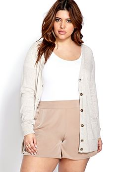 Embracing style and being honest. I've got big butt and I cannot lie. And these high-waisted (totally on trend now)  drapey fabric shorts are cute! - K Desert Commander Woven Shorts | FOREVER21 PLUS