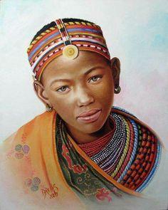Fine Art and You: 20 Beautiful African Children Paintings By Dora Alis African Artwork, African Paintings, African American Artist, African Artists, Black Women Art, Black Art, Hyper Realistic Paintings, African Children, Africa Art