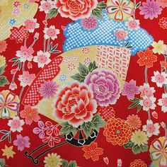 Colorful Fans in floral Japanese Kimono Cotton by AtelierLiaSan
