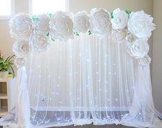 Telón de fondo flor papel de peonía, plantilla de flores de papel, flor de papel DIY, plantilla de flores grandes de papel, decoración de la boda, tutorial de flores de papel,