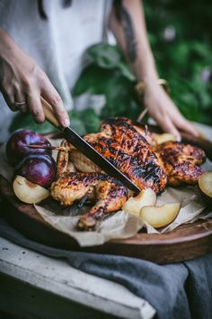 Barbecue Plum Spatchcock Chicken + A How To Video - Adventures in Cooking Healthy Meals For Two, Healthy Snacks For Kids, Healthy Recipes, Savoury Recipes, Easy Cooking, Cooking Recipes, Spatchcock Chicken, Side Dishes For Bbq, Campfire Food