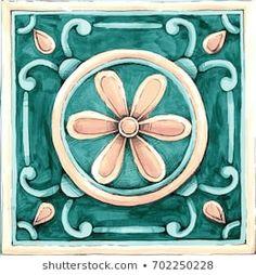 ornaments on the tiles watercolor, pain, Italy Majolica, floral ornament Mandala Drawing, Mandala Art, Pattern Drawing, Pattern Art, Tile Art, Tiles, Italian Pattern, Beautiful Flowers Wallpapers, Arabic Design