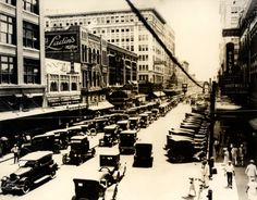 A view looking south onto the 600 block of Main Street at Texas Avenue, 1923. #Houston #History