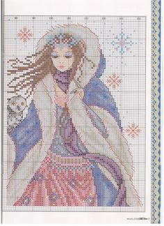 Snow Queen (Joan Elliott) From Cross Stitch Collection 2014 5 of 7 Fantasy Cross Stitch, Cross Stitch Fairy, Cross Stitch Angels, Cross Stitch Love, Cross Stitch Pictures, Christmas Embroidery Patterns, Cross Stitch Boards, Cross Stitch Kitchen, Cross Stitch Collection