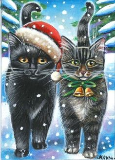 Black & Tabby Cats Xmas Painting