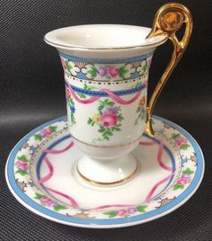 KPM Chocolate Cup & Saucer Floral , Blue Band, Pink Ribbon Gold Acc. Germany - Vintage Porcelain Chocolate Cup in Pink, Blue, & Green on White Ground w/ Gilt Handle