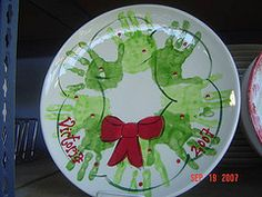 handprint wreath 'santa cookie' plate