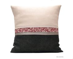 Natural  pillow modern pillow grey and red by Beccatextile on Etsy, €35.00
