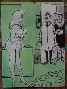 """Wenzel, B. """"here to look at the house Miss"""" Hand Drawn Adult Cartoon-11"""" x15"""""""