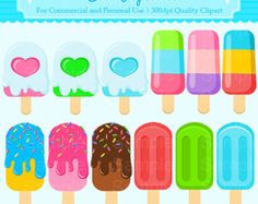 Cool Popsicles Clipart Set - For Commercial and Personal Use Cliparts - Eis am Stiel Card Games For Kids, Diy For Kids, Ice Cream Clipart, Summer Bulletin Boards, Coffee Doodle, Candy Clipart, Homemade Stickers, Chibi, Baby Clip Art