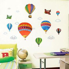 Hot Air Balloons and Planes Large Nursery Wall Sticker Decoration Wall Art