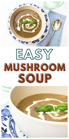 Easy Mushroom Soup.  An simple mushroom soup with simple ingredients but lots of flavour. Suitable for vegetarians and vegans. #mushroomsoup #easysouprecipe #vegansoup #veganmushroomsoup #creamymushroomsoup #soup Vegan Mushroom Soup, Vegan Soup, Mushroom Recipes, Easy Soup Recipes, Vegetarian Recipes, Healthy Recipes, Easy Cooking, Cooking Recipes, Vegan Supermarket