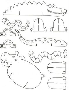 alligator, snake, hippo, worm