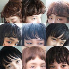 前髪コレクション。 パーマや、ストレート、前髪の隙間。 前髪の厚さや、幅が少し変わるだけで グッと雰囲気が変わる。