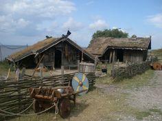 Houses in the museum of Foteviken. Reconstruction of Viking age settlement.
