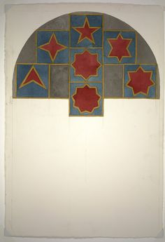 """Study for """"Stars with three-, four-, five-, six-, seven-, eight- and nine points, drawn with a four and one-half-inch wide band of yellow ink wash.   Sol LeWitt, Study for """"Stars with three-, four-, five-, six-, seven-, eight- and nine points, drawn with a four and one-half-inch wide band of yellow ink wash. (1984)"""