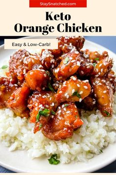 This Easy Keto Low Carb Orange Chicken is the perfect meal for healthy take-out at home! This sugar-free version can be made with either juicy chicken thighs or breasts and is drizzled with a decadent sauce and tossed with sesame seeds. Chinese Chicken Thigh Recipes, Low Carb Chicken Recipes, Healthy Eating Recipes, Cooking Recipes, Healthy Eats, Orange Marmalade Chicken, Healthy Orange Chicken, Orange Chicken Crock Pot, Sugar Free Orange Marmalade
